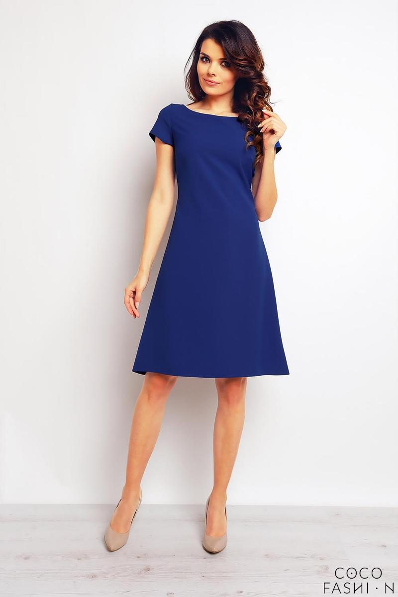 d8384ff8 Niebieska Sukienka Trapezowa z Zakładką na Plecach