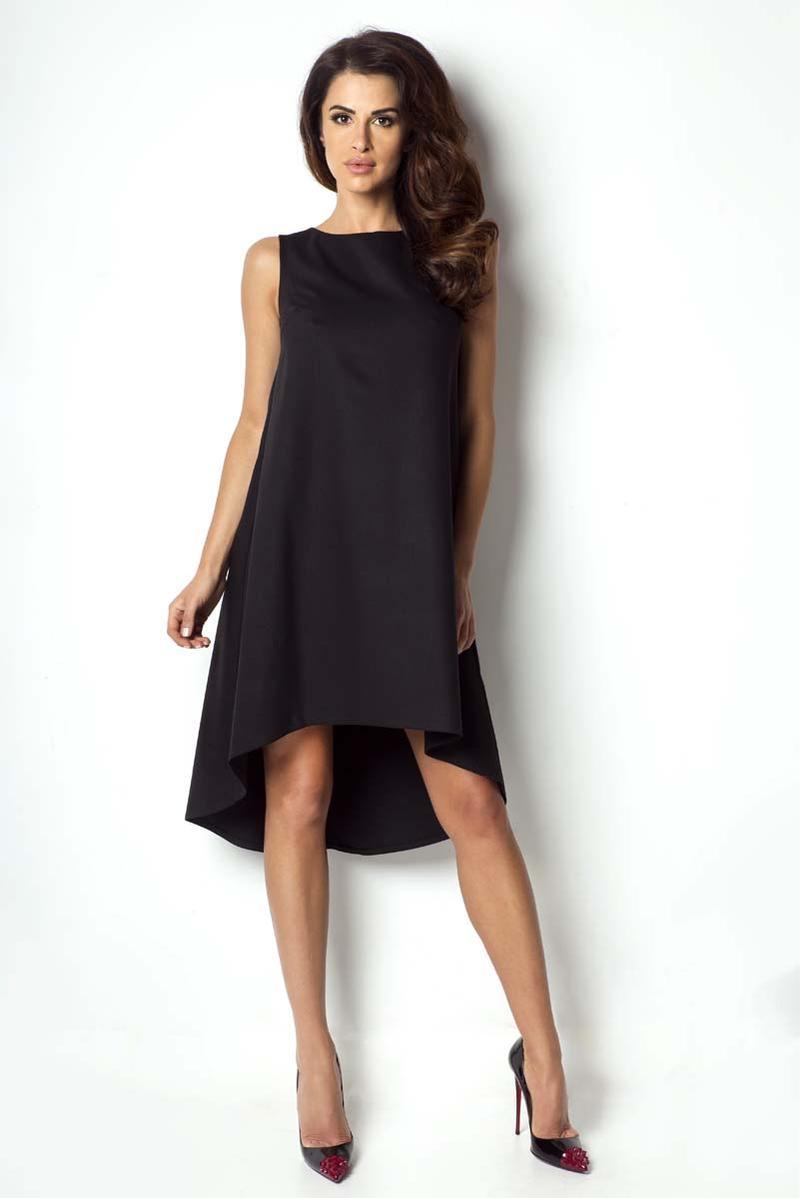 Czarna Sukienka z Asymetrycznym Dłuższym Tyłem