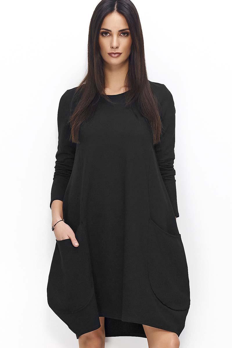24fc9901c2 Czarna Sukienka Bombka z Wydłużonym Tyłem