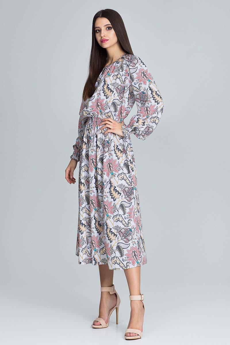 839f9dac5b Wzorzysta Sukienka Midi z Bufkami na Rękawach