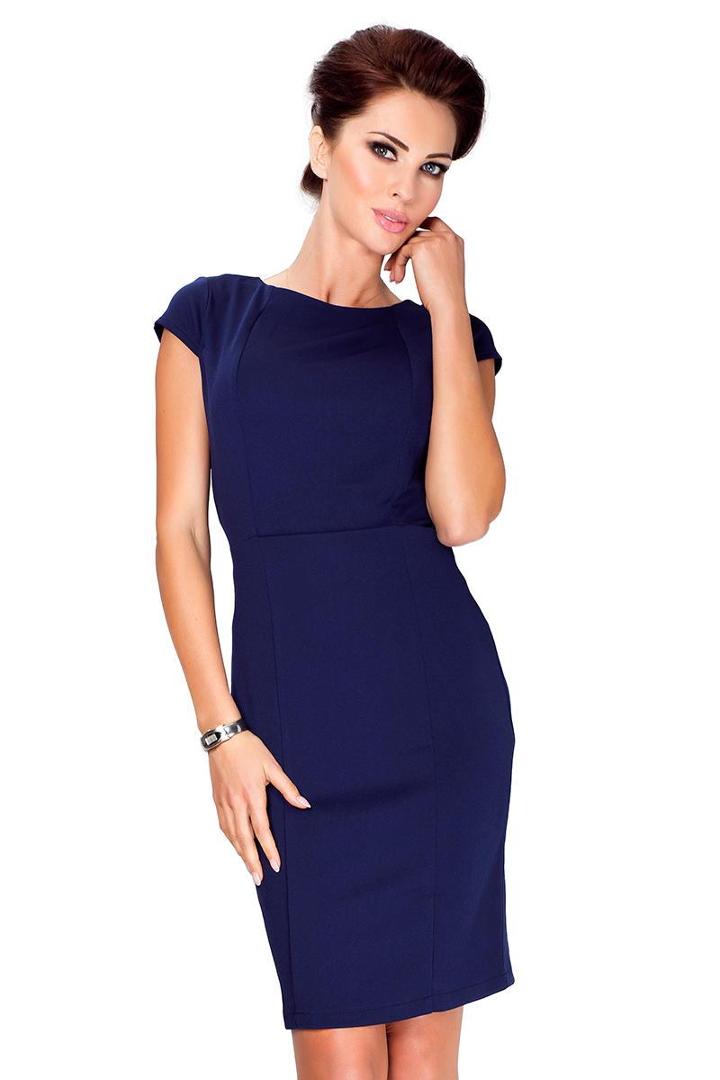 427b125171 Granatowa Klasyczna Sukienka Przed Kolana