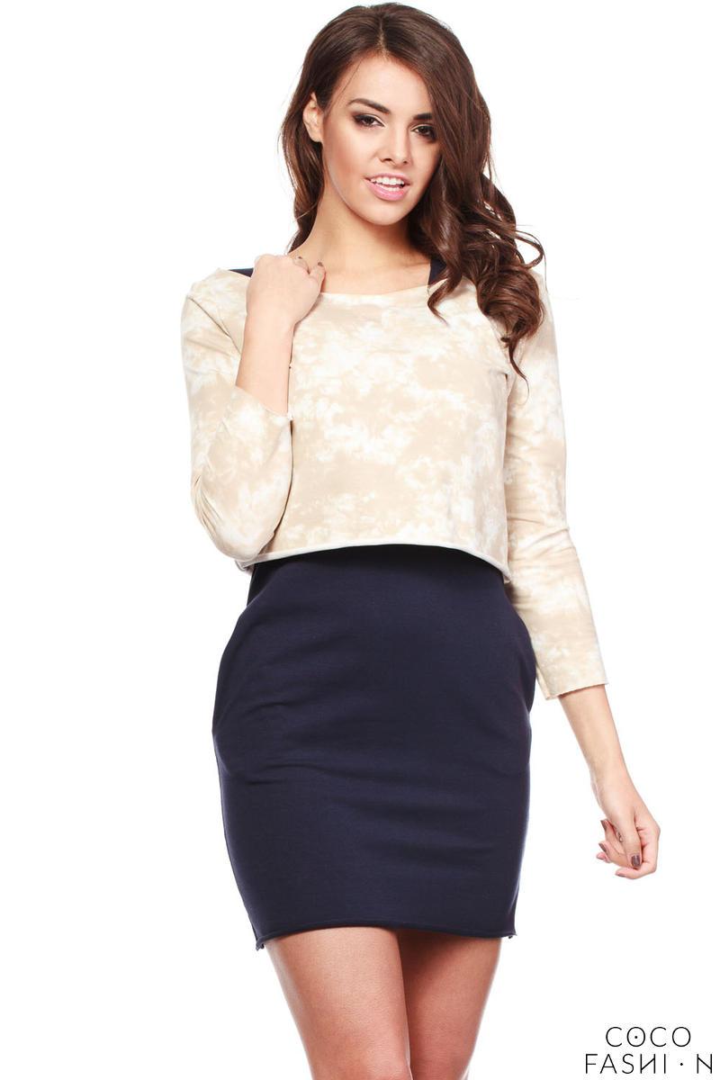 50f0d72530 Dwuczęściowy Strój Granatowa Mini Sukienka + Krótka Wzorzysta Bluzka