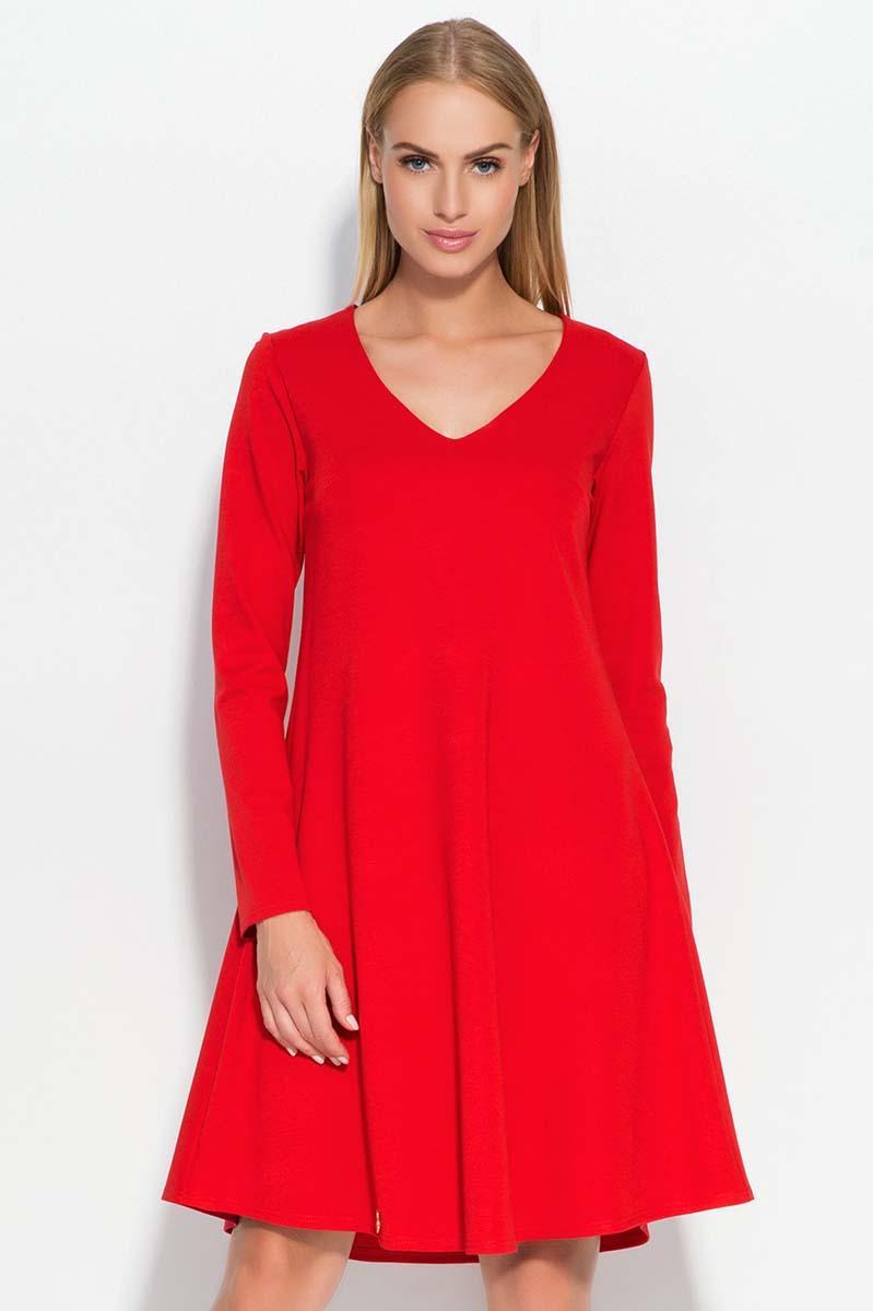 fbc7cdfff4 Czerwona Sukienka Trapezowa z Dekoltem