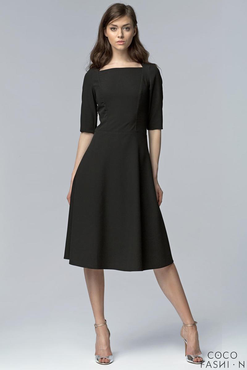 f40f7b66ad Czarna Wizytowa Midi Sukienka z Szerokim Dołem z Rękawem 1 2