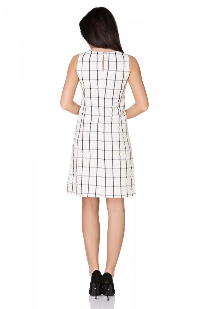 d0ccc615a4 Biała Sukienka w Kratkę bez Rękawów