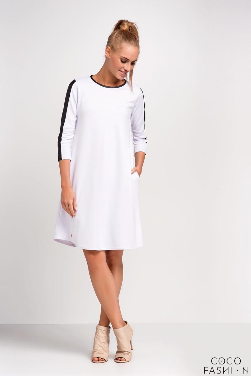 17f6e87fca Biała Trapezowa Sukienka do Pracy z Wstawkami z Eko-skóry