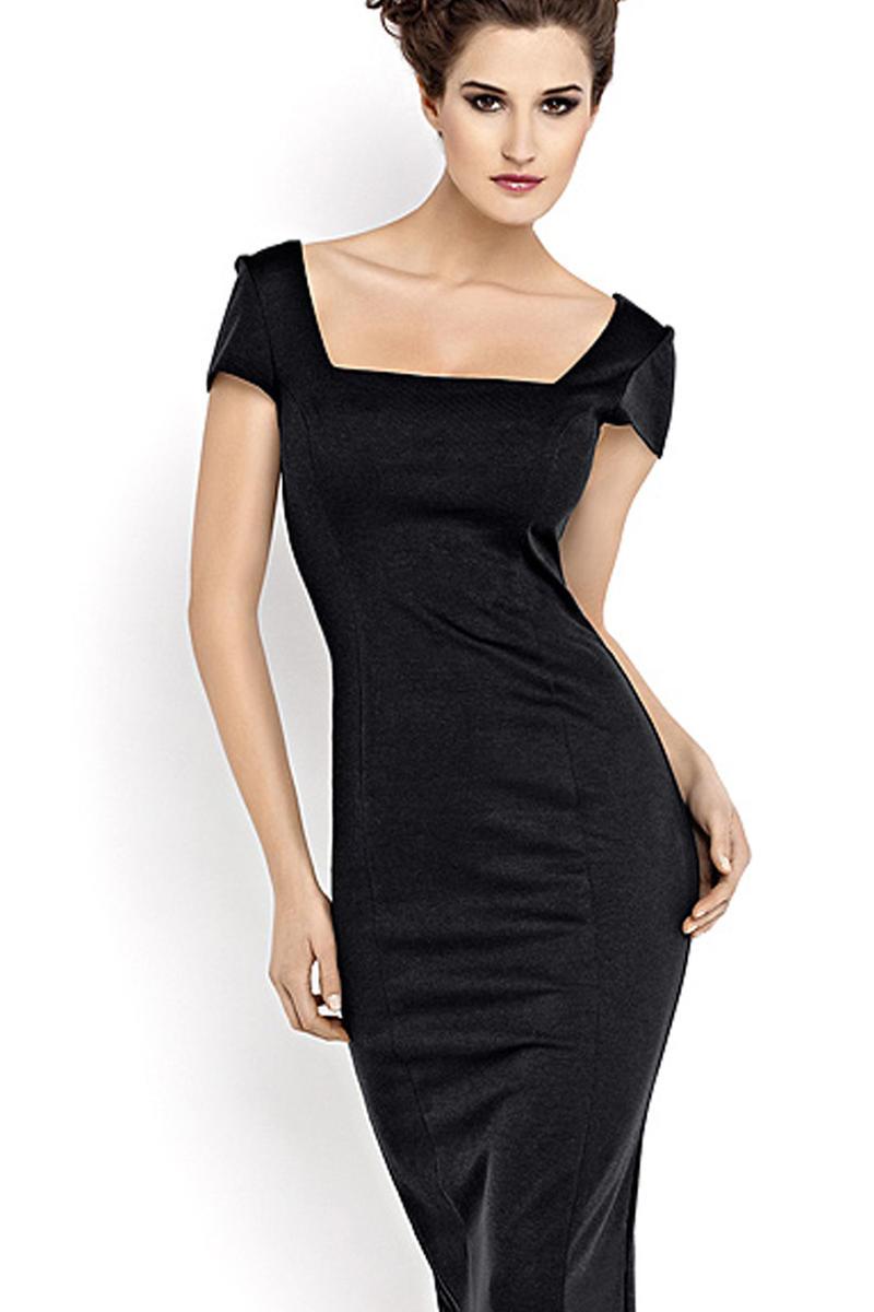 Czarna Sukienka Midi z Dekoltem Karo