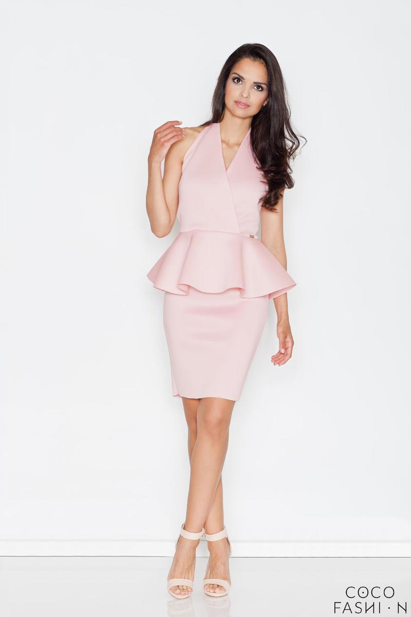 73919ed4b656 Różowa Elegancka Sukienka z Baskinką