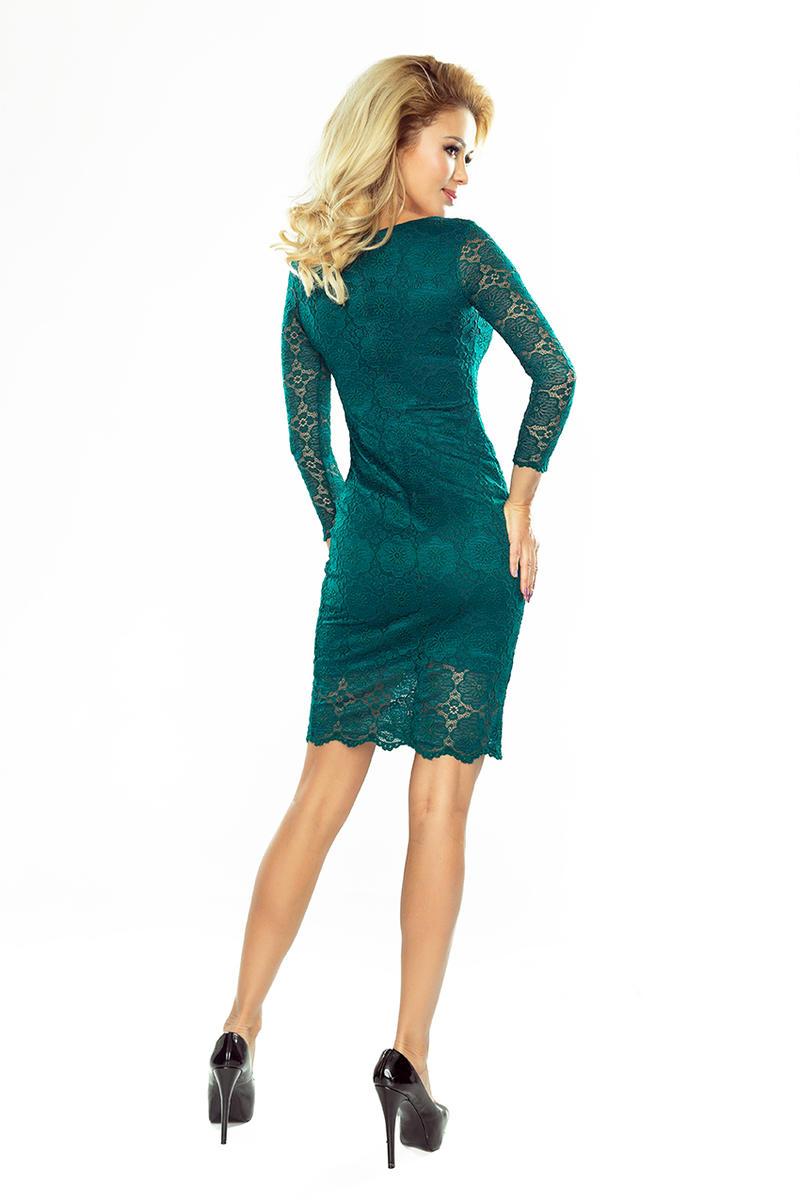 a955a1aad6 Zielona Sukienka Wizytowa z Koronki