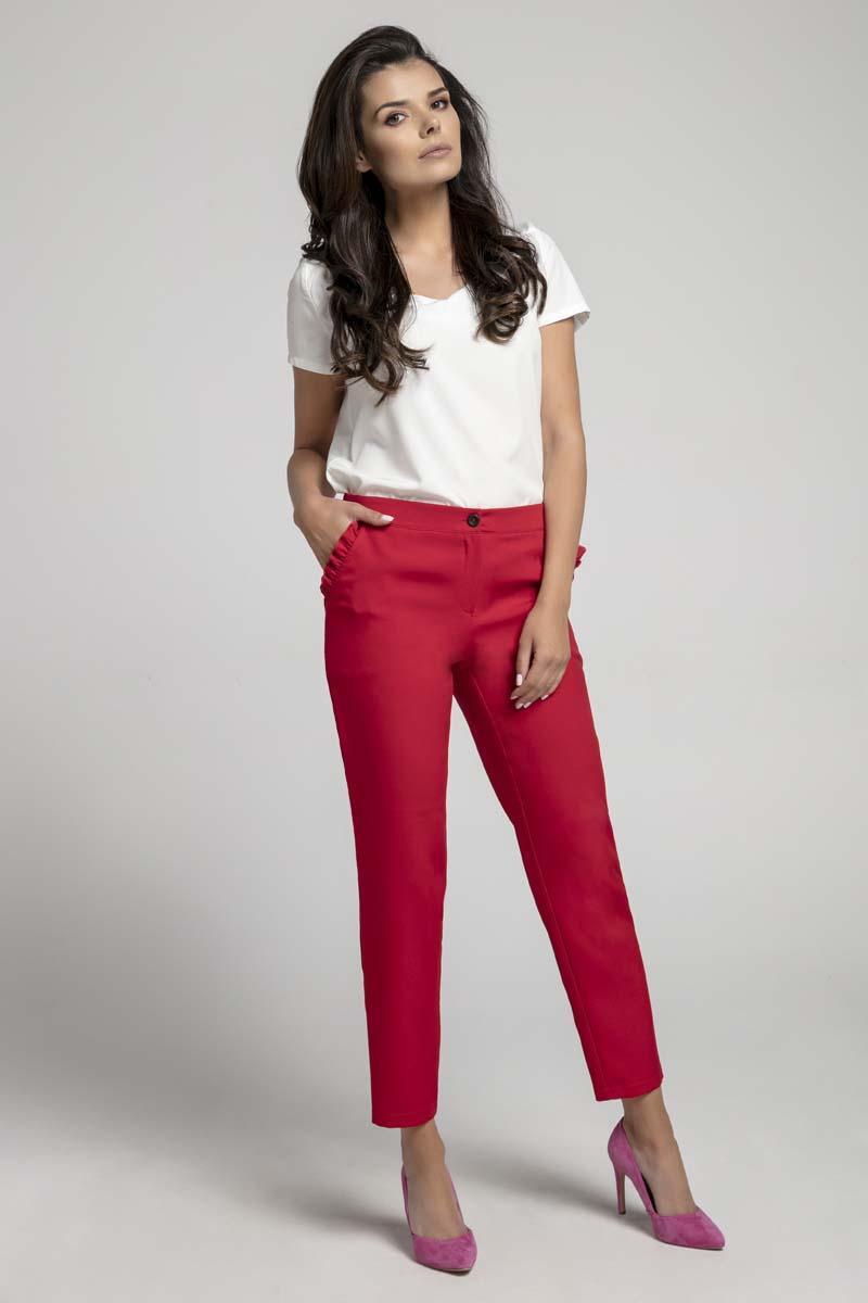 d88796144e0d60 Czerwone Eleganckie Spodnie 7/8 z Falbanką przy Kieszeniach