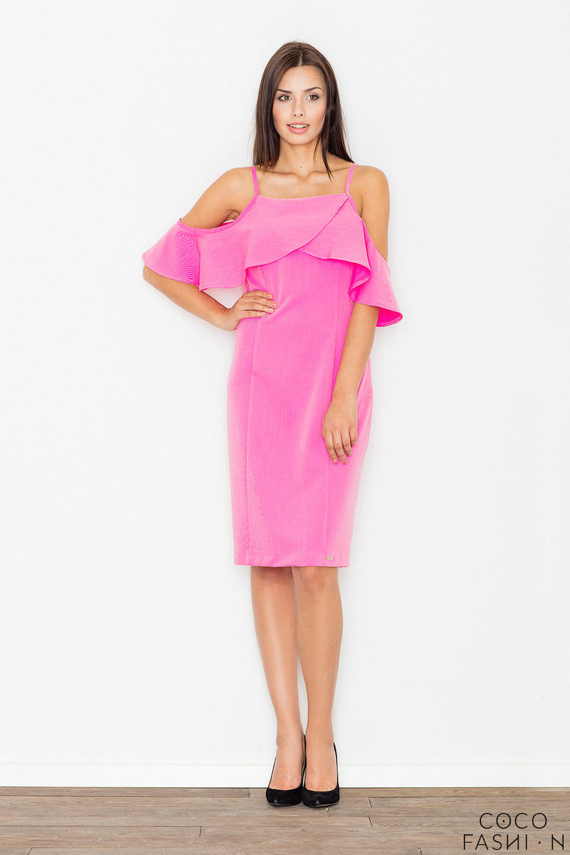 b69f8e01 Różowa Ołówkowa Sukienka na Ramiączkach z Falbaną