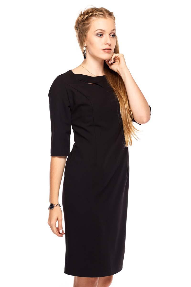 9aa4c2cc92 Czarna Sukienka Wizytowa z Rękawem do Łokcia