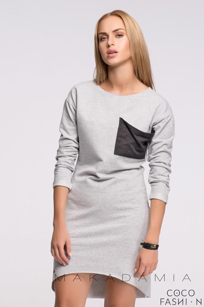 9eb4417c55 Szara Asymetryczna Dresowa Sukienka z Kieszonką