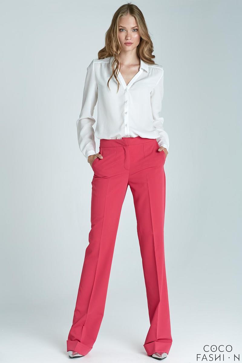 eee96c28 Różowe Eleganckie Długie Spodnie z Mankietem