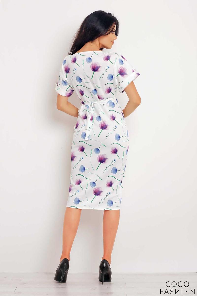 7cc88ead9d Biała Sukienka Midi z Krótkim Rękawem w Fioletowe Kwiaty