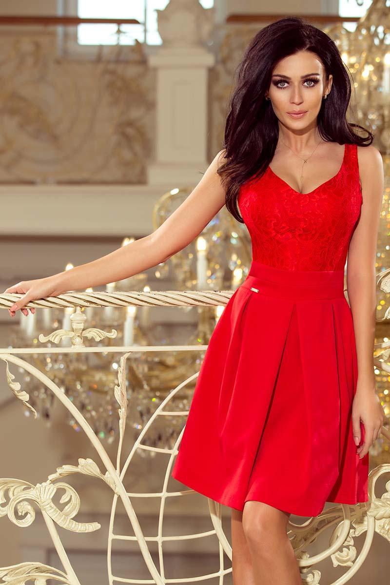 255d51090c Czerwona Koktajlowa Rozkloszowana Sukienka z Koronką
