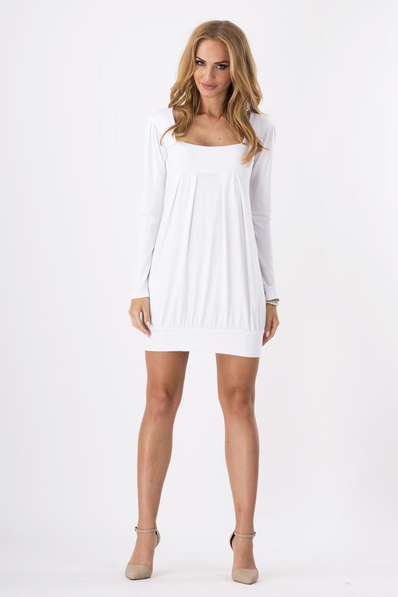 Biała Dzianinowa Sukienka z Dekoltem Caro z Długim Rękawem