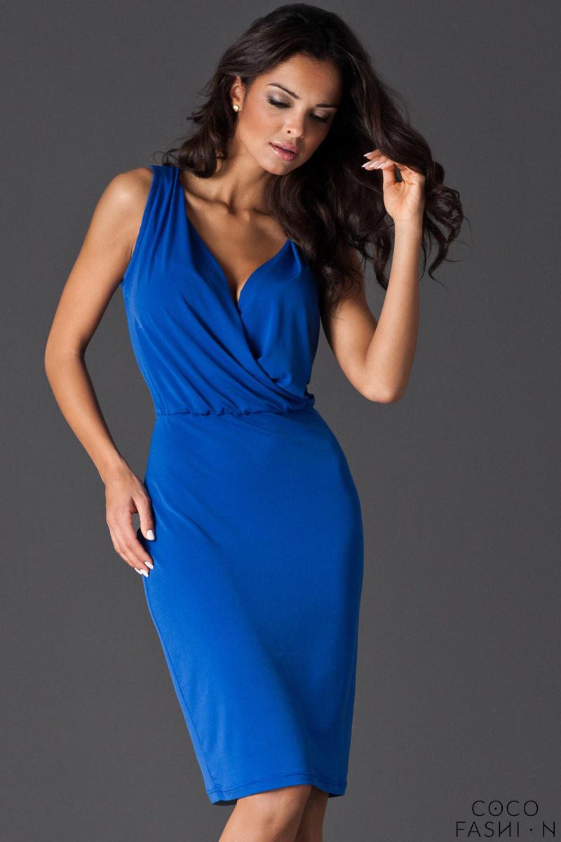 4fc1688563 Kobieca Niebieska Sukienka przed Kolano z Założeniem Kopertowym