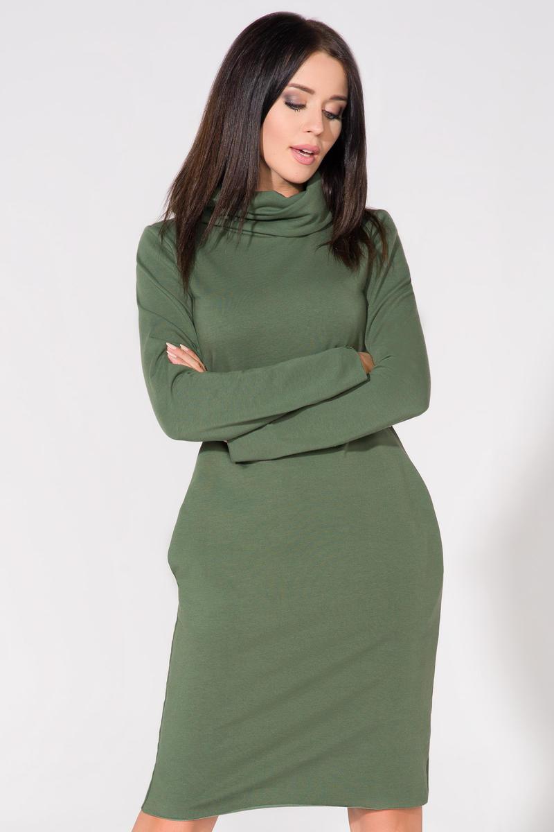 a1d53ea75d Zielona Sukienka Dresowa z Golfem