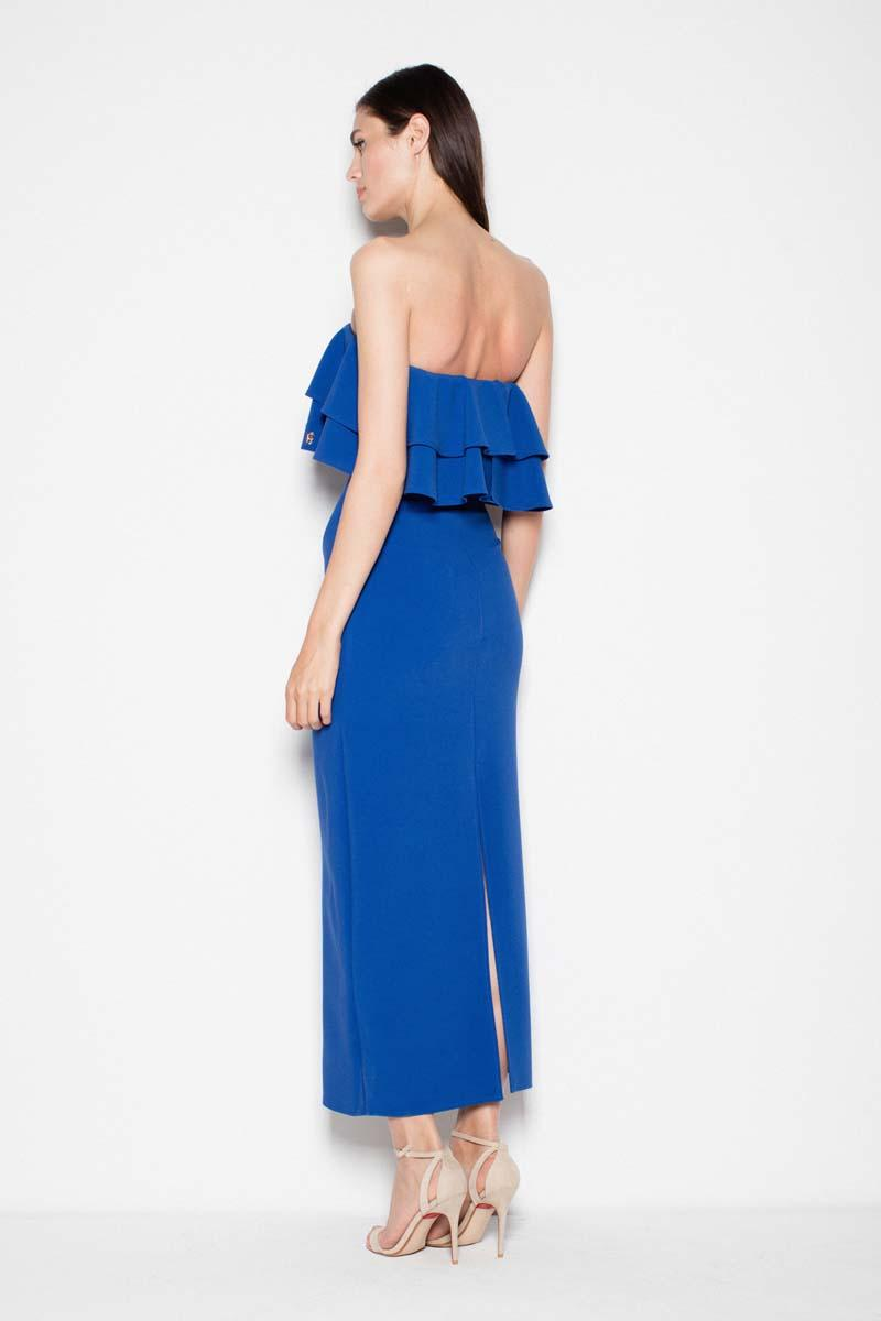 3252bee9b4 Niebieska Sukienka Długa Elegancka z Falbankami