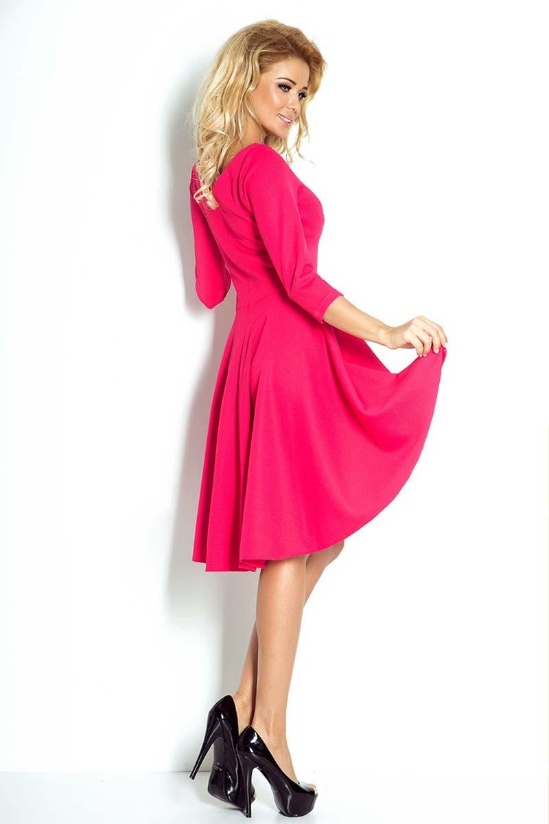1deb29076c Malinowa Sukienka Koktajlowa z Asymetrycznym Rozkloszowanym Dołem