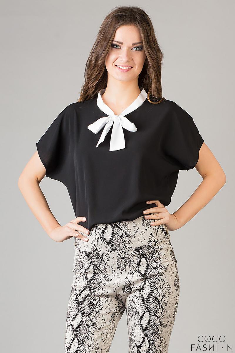 7a52ccd60645e0 Czarna&biała Elegancka Bluzka z Wiązaną pod Szyją Limonkową Kokardą