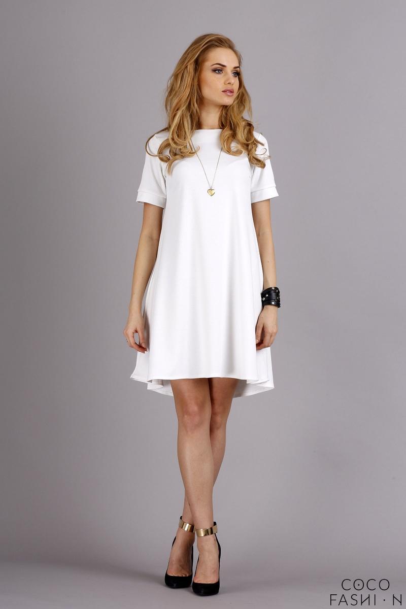 eda70db4bf Biała Rozkloszowana Sukienka z Krótkim Rękawem