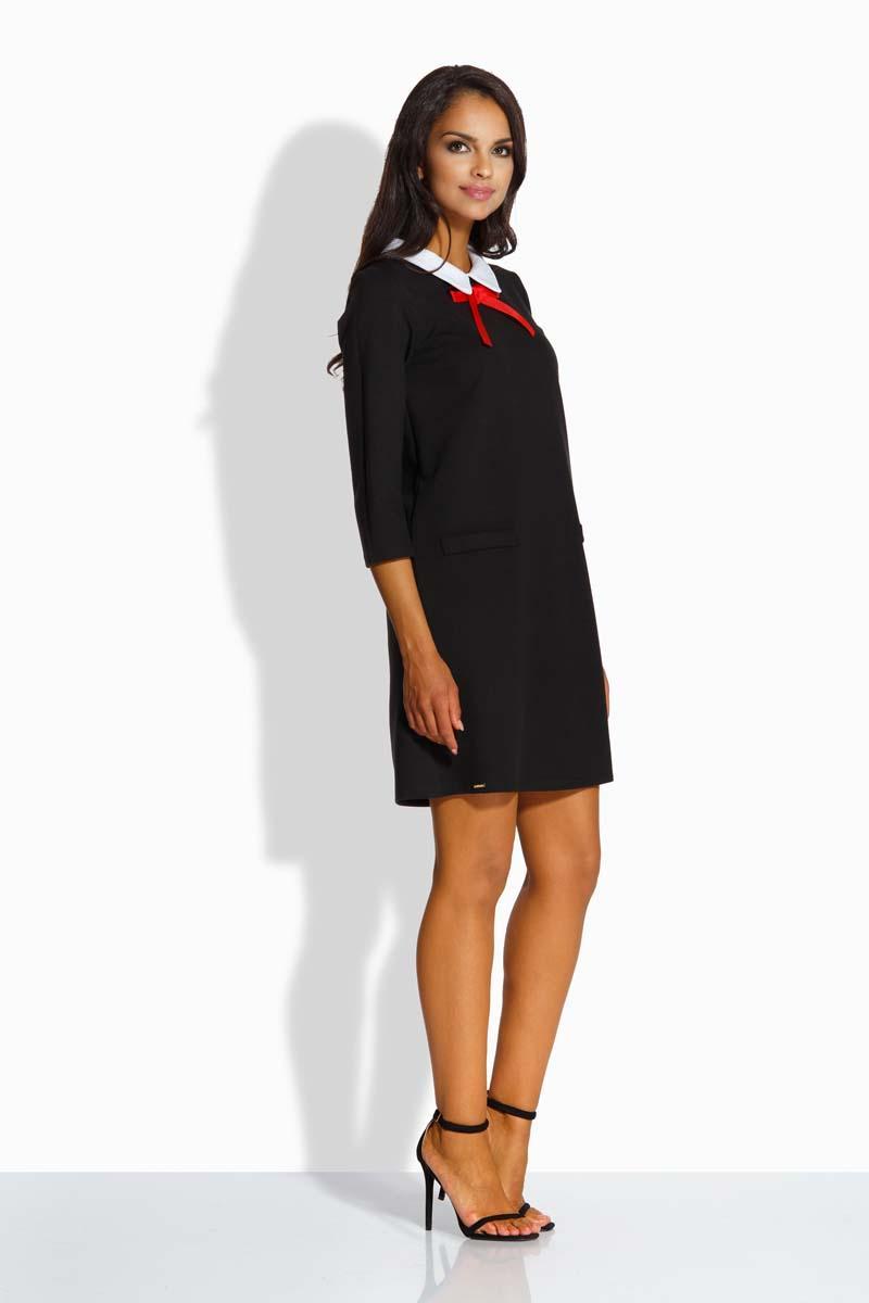 607abd2f26 Czarna Sukienka Pensjonarka z Białym Kołnierzykiem