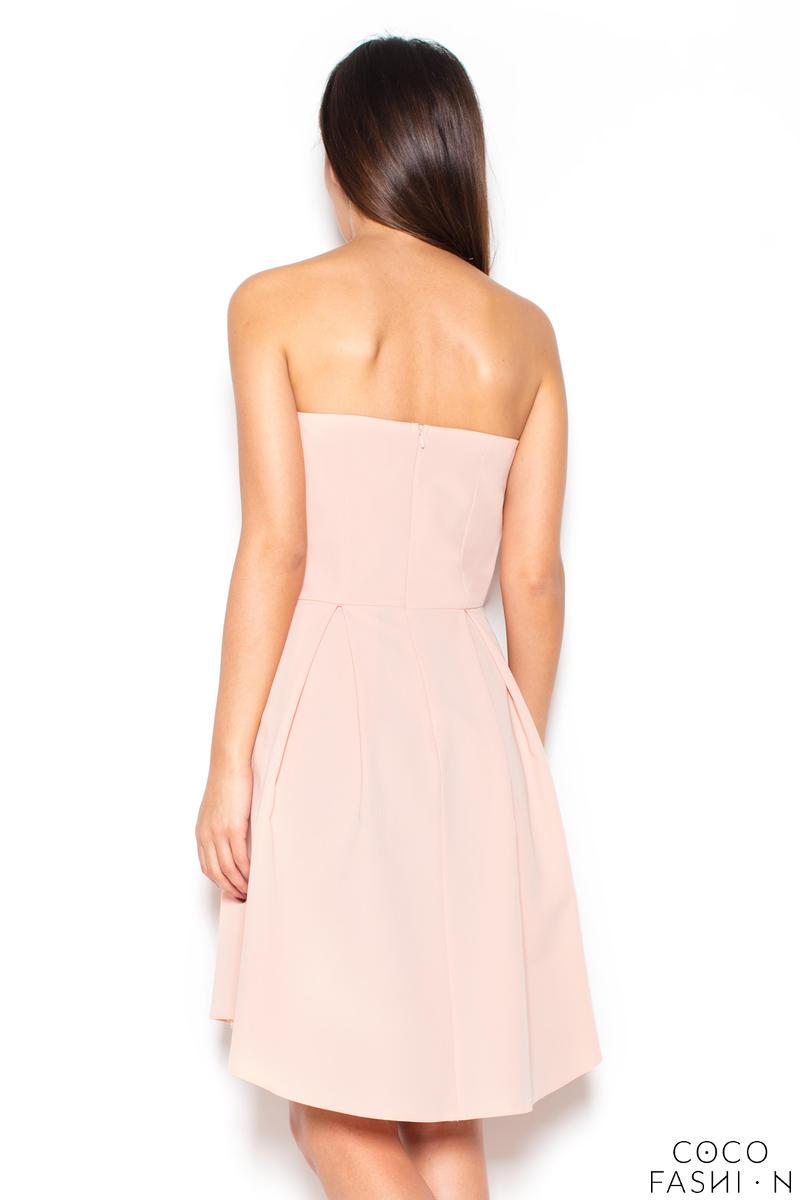 54f028cdfe Elegancka Różowa Gorsetowa Sukienka z Dłuższym Tyłem