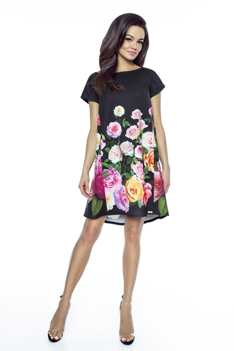 969c67da25 Czarna Sukienka Trapezowa w Kwiaty