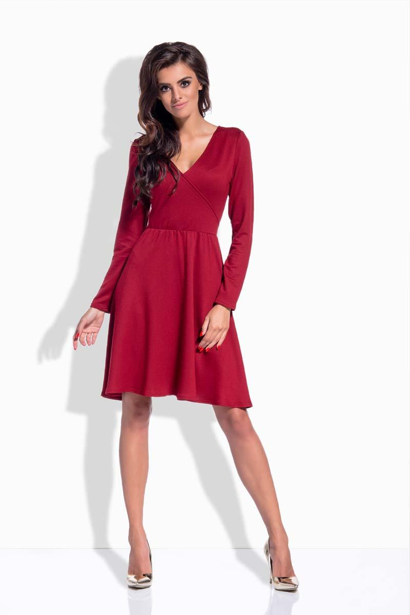 0d04366f2f Bordowa Sukienka Rozkloszowana z Dekoltem V