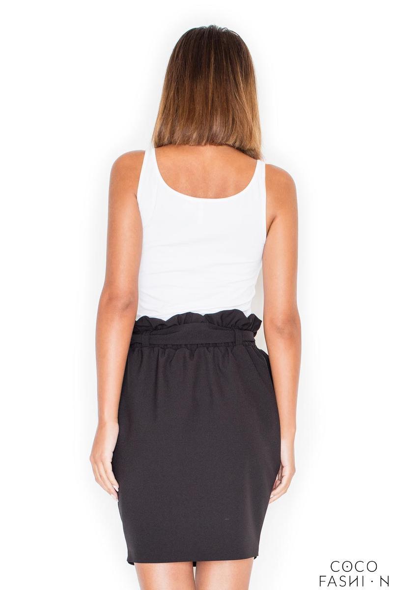 Czarna Mini Spódnica z Paskiem Marszczona w Pasie