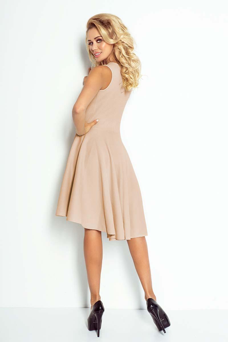 9939955920 Beżowa Sukienka Koktajlowa z Asymetrycznym Plisowanym Dołem