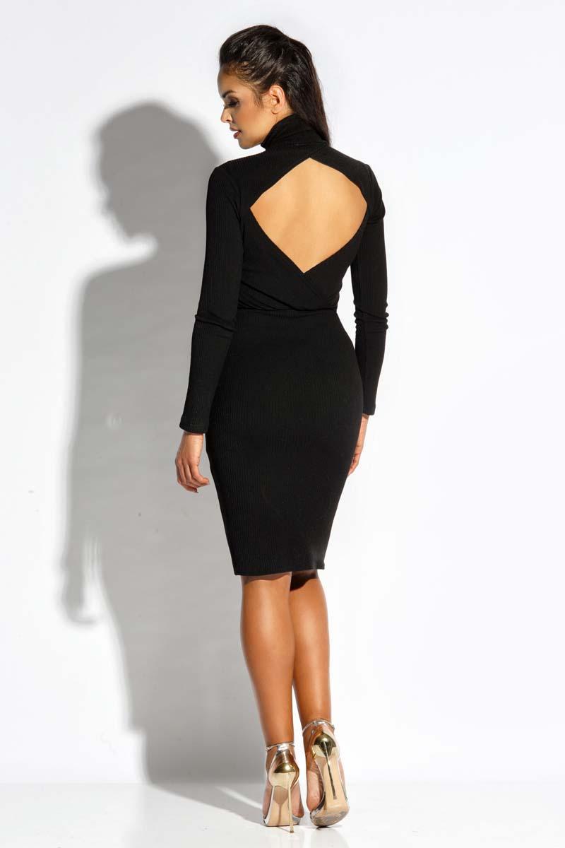 819b558e1c Czarna Sukienka z Wycięciem na Plecach