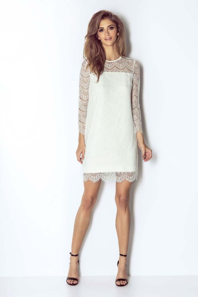 a8cd4a0d1f Białą Wizytowa Trapezowa Sukienka Koronkowa z Dzwonkowym Rękawem