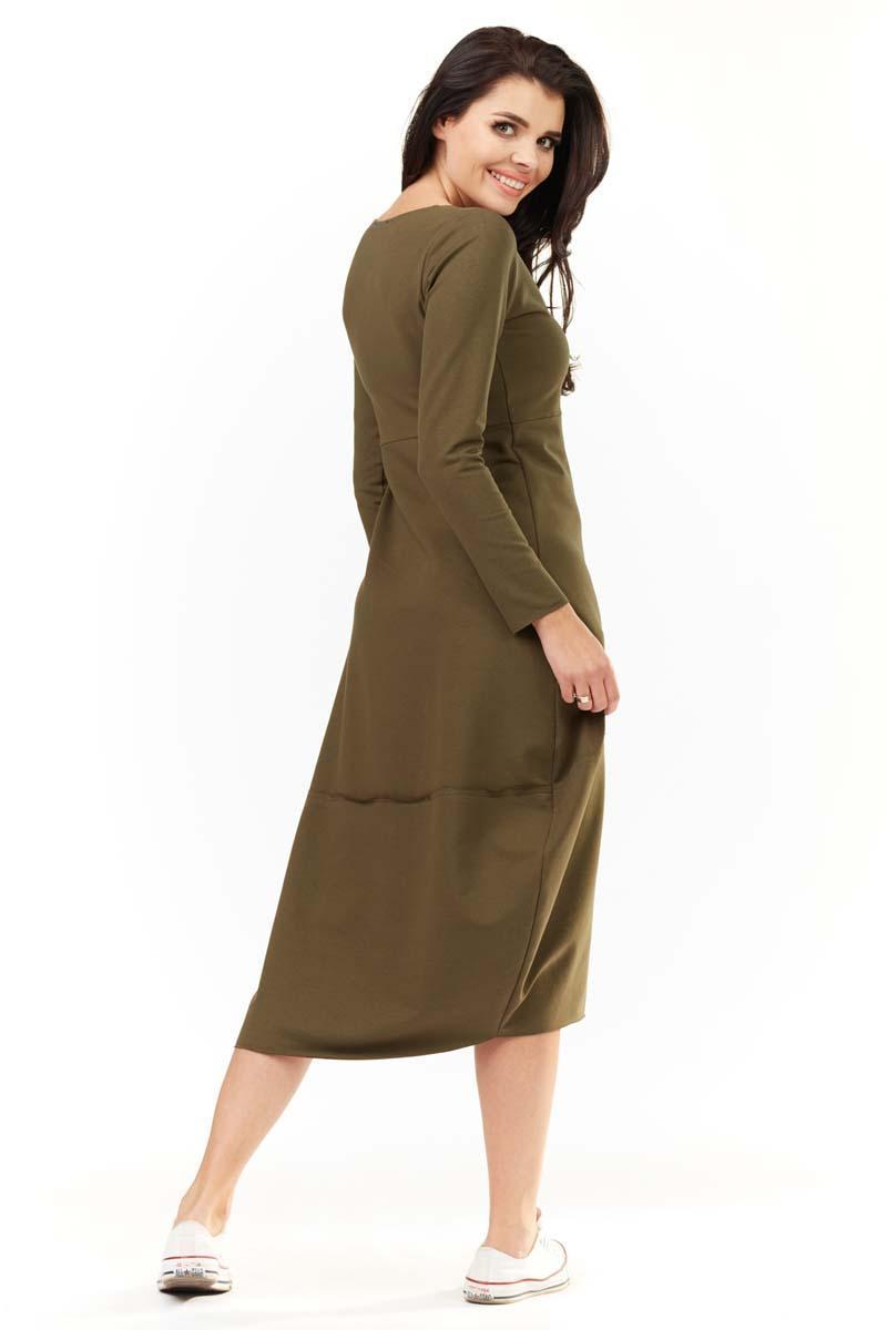 86069a07fc Khaki Dzianinowa Midi Sukienka Bombka z Długim Rękawem