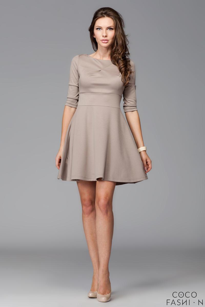 d6bf986a83 Beżowa Elegancka Sukienka z Rozkloszowanym Dołem