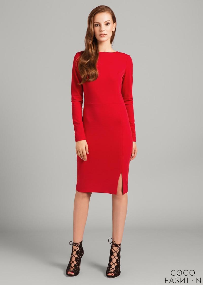 f001bf0bcc Czerwona Dopasowana Sukienka z Długim Rękawem