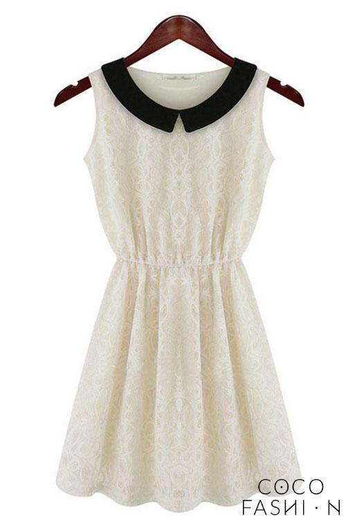fd6d0972e3 Biała Koronkowa Sukienka z Czarnym Kołnierzykiem