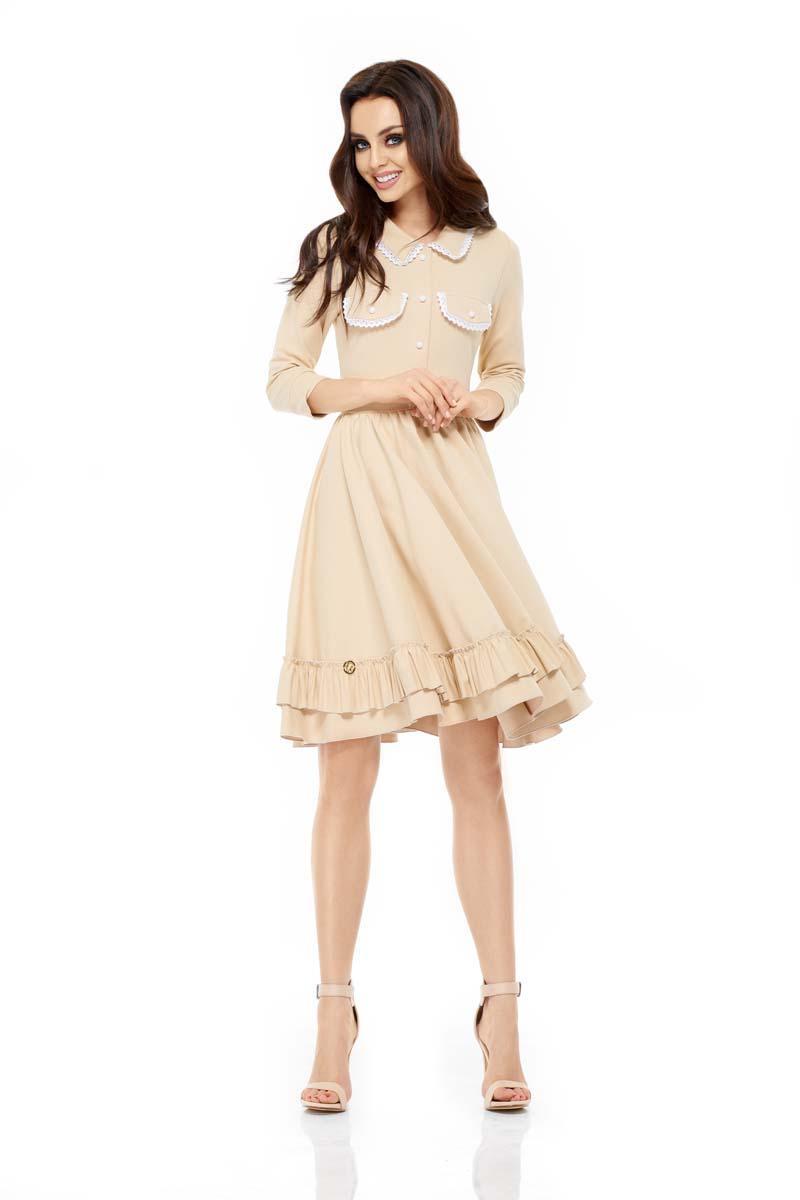 7efdaa4c6b Sukienka Dresowa z Szerokim Dołem z Koronką - Beżowa