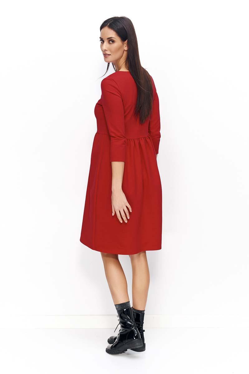 2be06cc6f0 Czerwona Sukienka Dzianinowa Poszerzana z Rękawami ¾