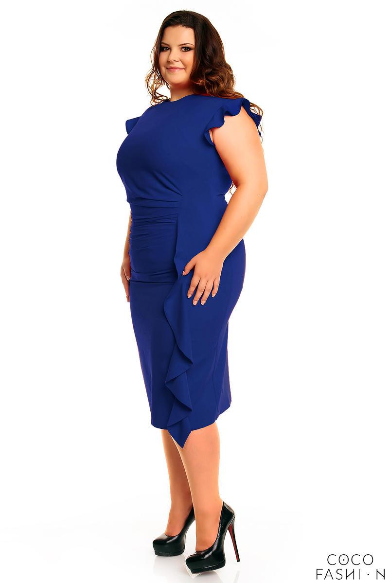 60b279e676 Niebieska Elegancka Sukienka z Falbanką PLUS SIZE