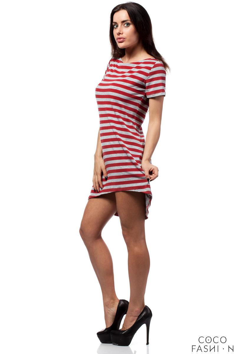5be2d724f2 Czerwona Letnia Asymetryczna Sukienka z Krótkim Rękawem