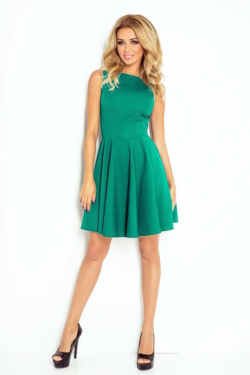 4c7ebb1830 Zielona Sukienka Koktajlowa z Rozkloszowanym Dołem