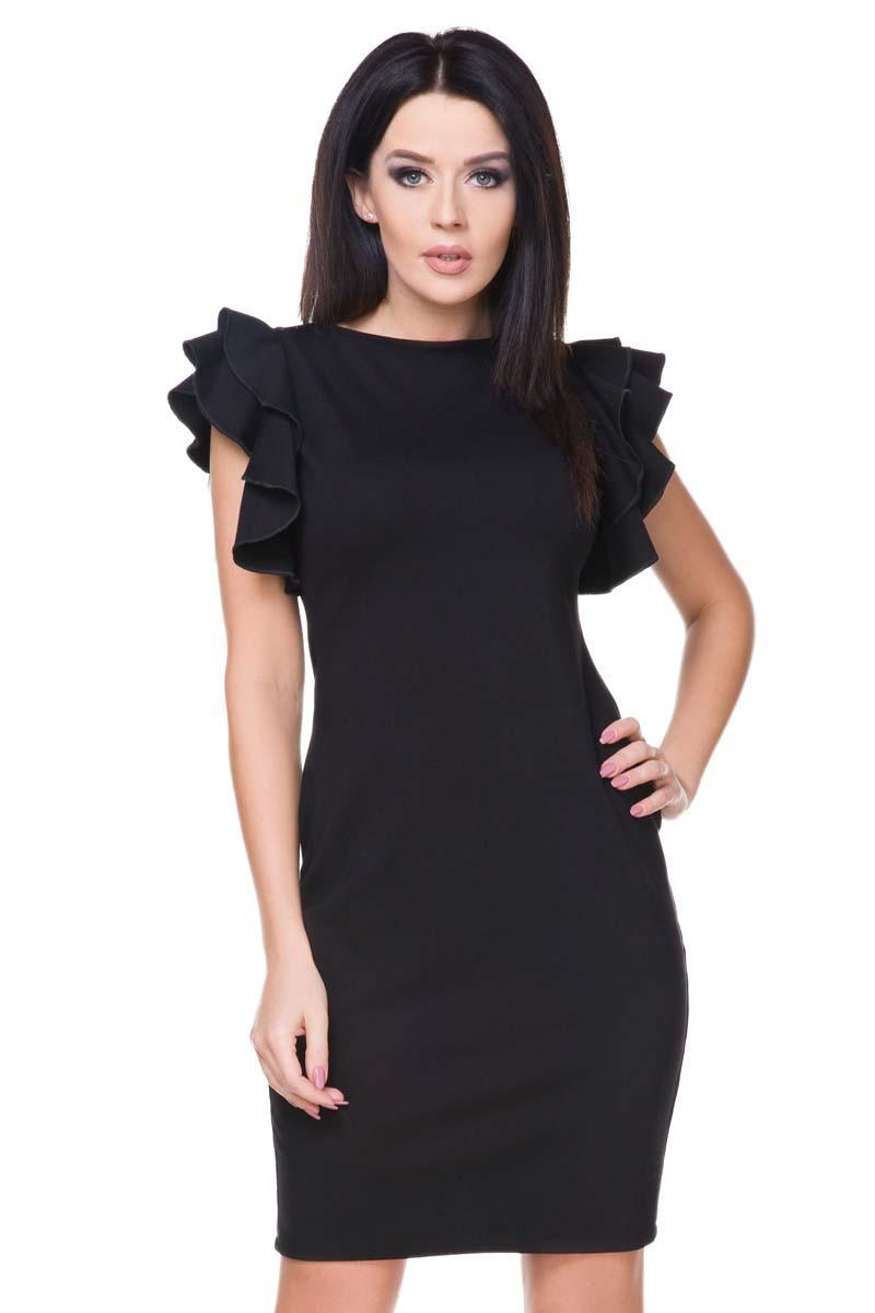 Mała Czarna Sukienka z Falbanami na Rękawach