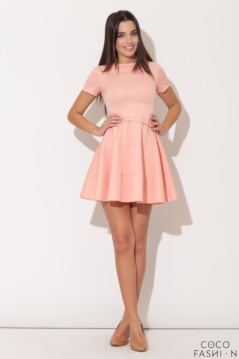 556762551e Różowa Rozkloszowana Sukienka z Krótkim Rękawem