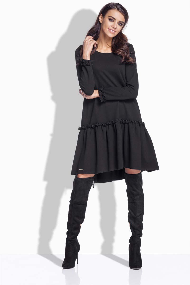 caf15094d9 Czarna Sukienka Luźna z Falbanką