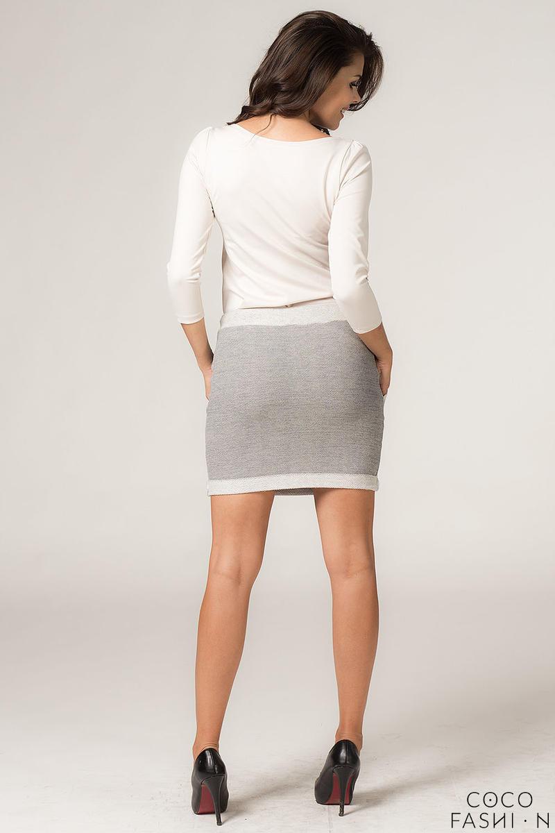Szara Dzianinowa Ołówkowa Spódnica Mini z Kontrastowymi
