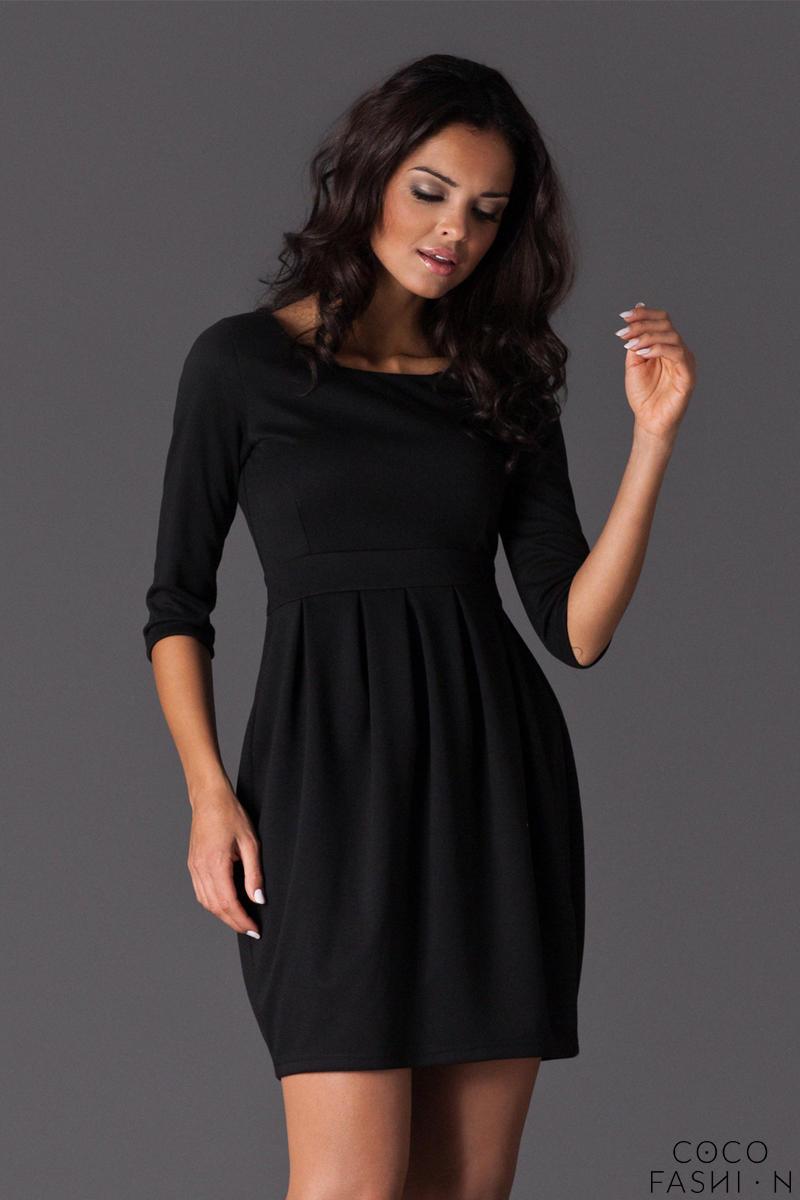 Czarna Sukienka Tulipan z Rękawem 34