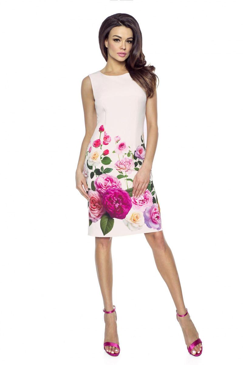 82e27e9197 Ecru Sukienka Ołówkowa w Kwiaty